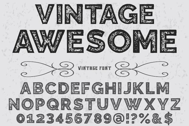 Vintage font alphabet font design awesome