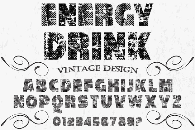 Vintage font alphabetical energy drink