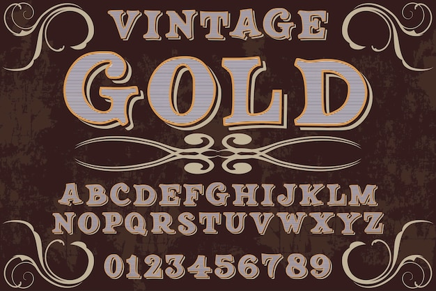 Vintage font graphic style gold