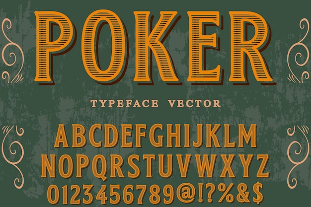 Vintage font graphic style poker