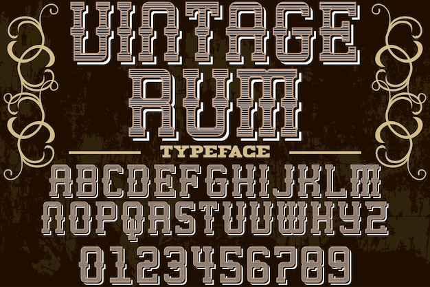 Vintage font graphic style rum