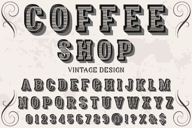 ビンテージフォント手作りコーヒーショップ
