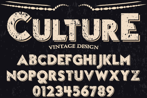 Vintage font handcrafted culture