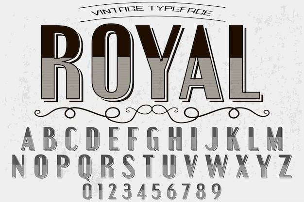 Vintage font handcrafted royal