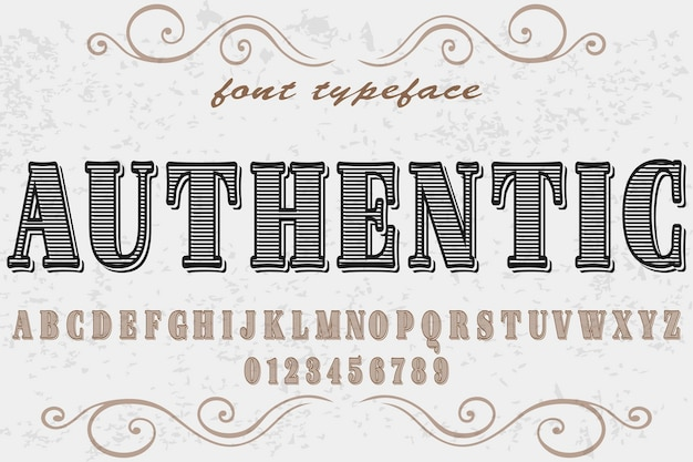 Vintage font handcrafted vector named authentic