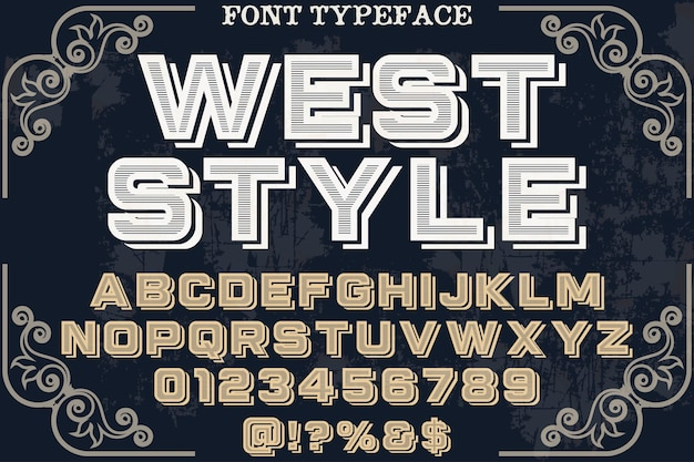 Винтажный шрифт ручной работы в западном стиле