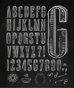 Vintage font letters chalk