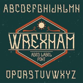 Wrexhamという名前のビンテージフォント。