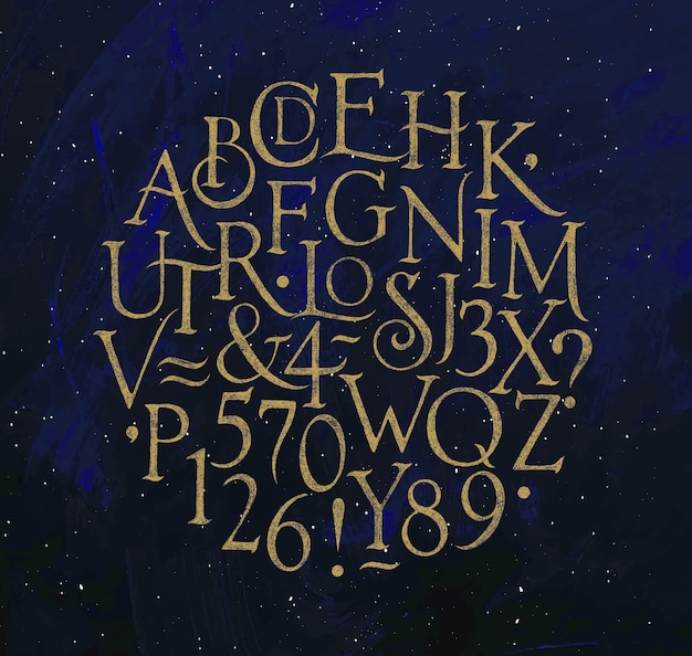 Vintage font in retro style drawing on blue background