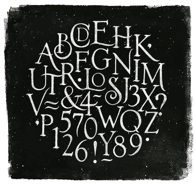 Vintage font in retro style drawing with chalk on chalkboard