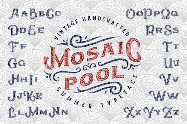 Vintage font set made of mosaic pieces