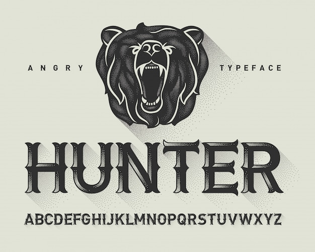 Vintage font set with angry bear illustration