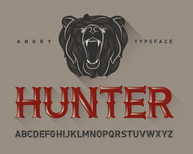 Vintage font set with bear head illustration