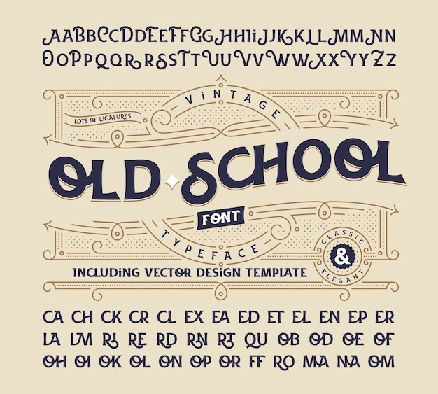 Vintage font set with decorative ornament