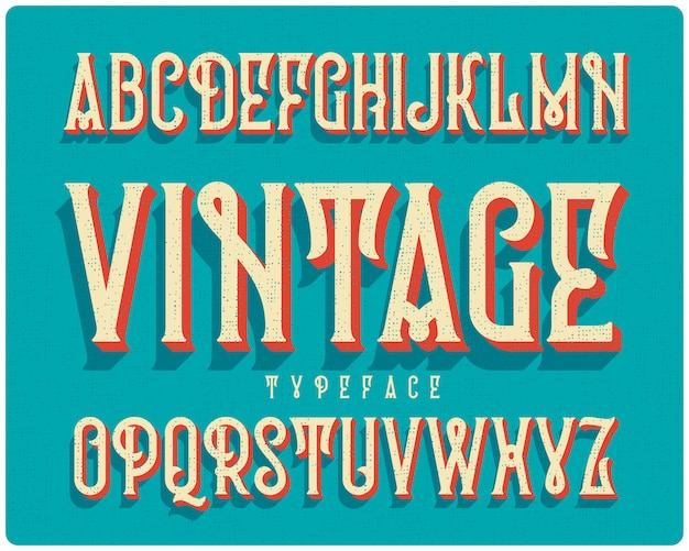 Vintage font set with extruded effect
