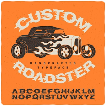 Vintage font set with roadser illustration