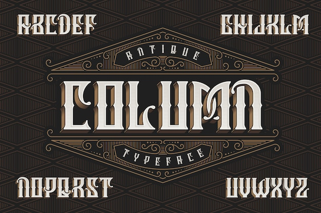 Vintage font with 3d extruded shape