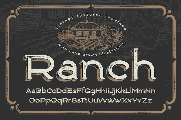 Vintage font with textured effect and ranch illustration