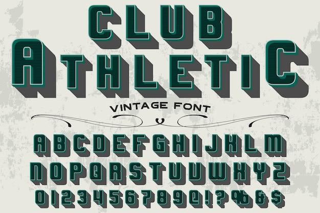 Vintage fontcolorful retro typeface club athletic