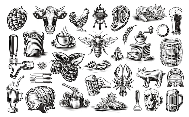 Vintage food clipart, a set of black and white illustrations for such themes as brewery, cheese dairy, honey, bbq, coffee
