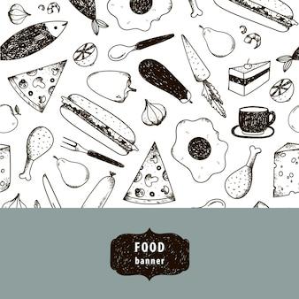 ヴィンテージ食品イラスト、手描きのバナー、カード、黒と白のパターンのチラシ。チーズ、ピザ、卵、鶏肉、にんじんなど