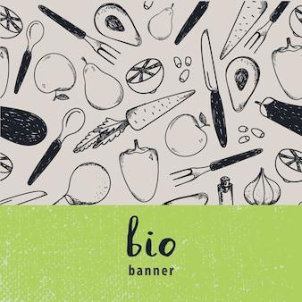ヴィンテージ食品イラスト。ヴィンテージ食品イラスト、手描きのバナー、カード、黒と白のパターンのチラシ。果物と野菜
