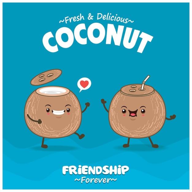 코코넛 캐릭터가 있는 빈티지 음식 포스터 디자인