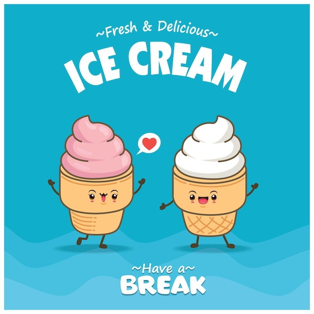 Vintage food poster design with vector ice cream character