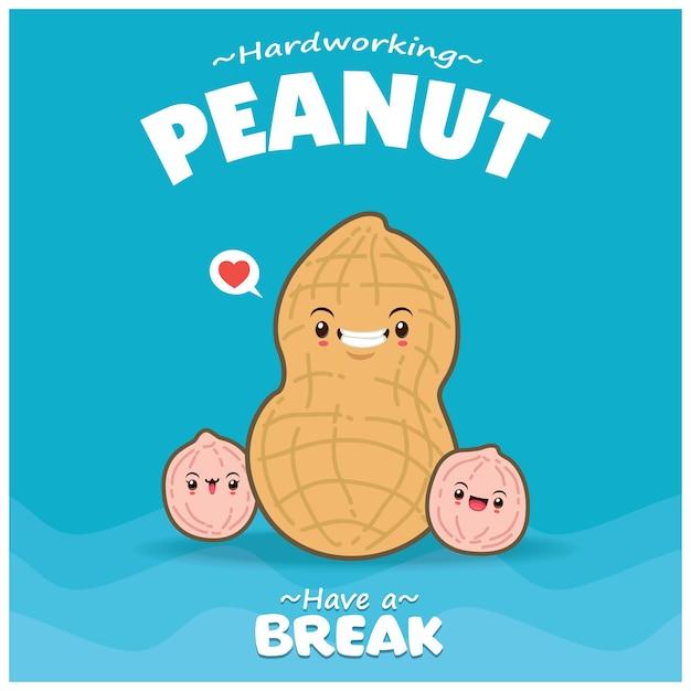 Винтажная еда дизайн плаката с характером арахиса вектор
