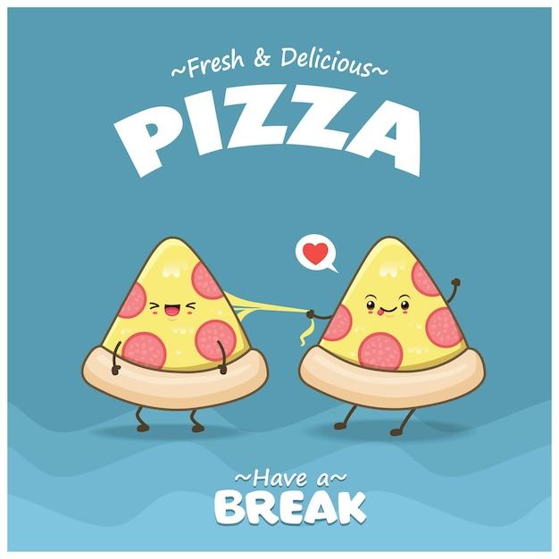 벡터 피자 캐릭터가 있는 빈티지 음식 포스터 디자인