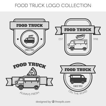 リボン付きビンテージフードトラックのロゴ