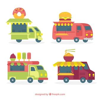 Vintage food trucks with modern food