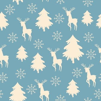 Vintage forest vector seamless pattern