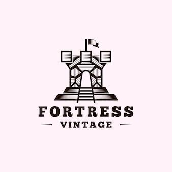 Vintage fortress castle logo