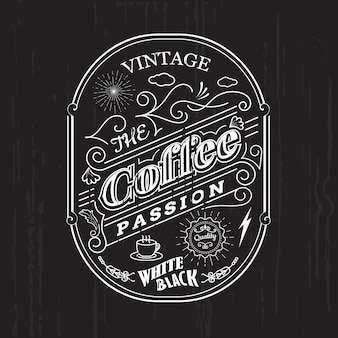 Vintage frame border coffee label design badge elements vector