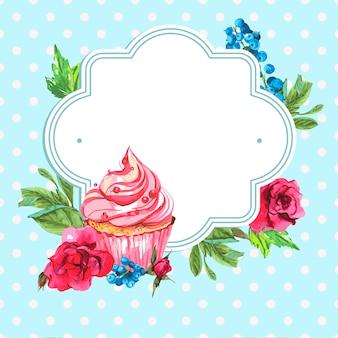 バラとマフィンのビンテージフレームカード