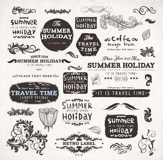 Vintage frame decoration ornate typographic