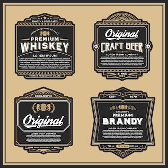 라벨, 배너, 위스키 및 맥주 스티커 빈티지 프레임 디자인