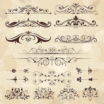 Винтажная рамка элементы. каллиграфия границы и углы филигранная классика ретро вектор дизайн шаблона