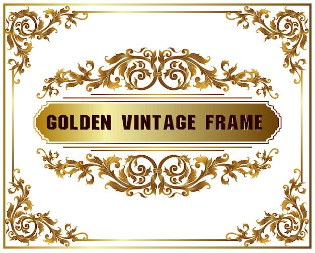 Vintage frame floral border template