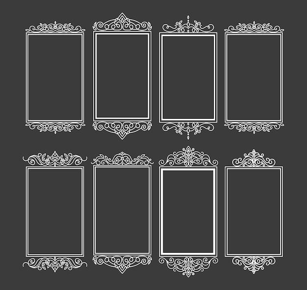 Винтажная рамка-этикетка. орнаментальные логотипы с декоративными цветочными ретро-элементами. рамки для свадьбы.