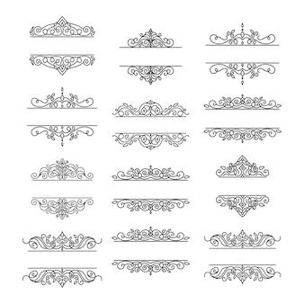 빈티지 프레임 라벨 세트 장식 로고 타입 결혼식을 위한 장식 꽃 복고풍 요소 프레임