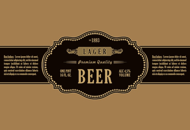 ビンテージフレームラベルステッカーボトルビール