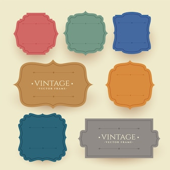 Vintage frame labels set in retro colors