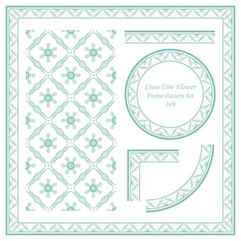 크로스 라인 꽃의 빈티지 프레임 패턴 세트