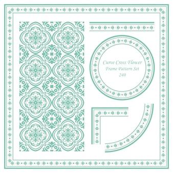 곡선 크로스 꽃의 빈티지 프레임 패턴 세트