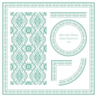 도트 라인 꽃의 빈티지 프레임 패턴 세트