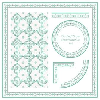 팬 잎 십자가 꽃의 빈티지 프레임 패턴 세트