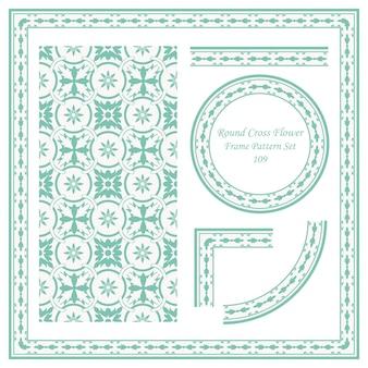 사운드 크로스 꽃의 빈티지 프레임 패턴 세트