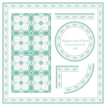 다각형 크로스 꽃의 빈티지 프레임 패턴 세트